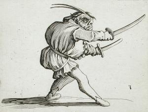 Le Duelliste à l'Épée et au Poignard (France, Jacques Callot,1616))